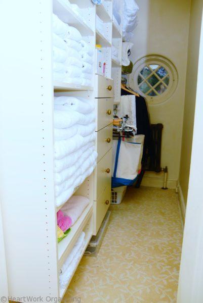 organized linen closet- after