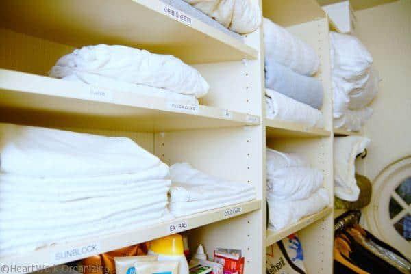 towels in a linen closet