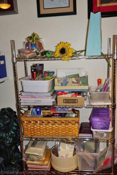 cluttered art room shelves