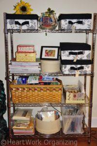 organized art room shelves