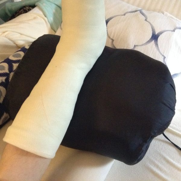 using sleeping bag for Foot surgery bunionectomy
