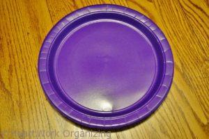 organize boots with a paper plate