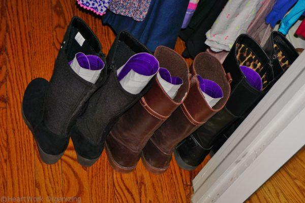 organizing boots with a paper plate