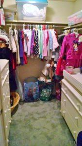organized closet in girl's room