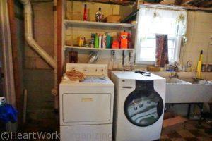 basement laundry room organizing before