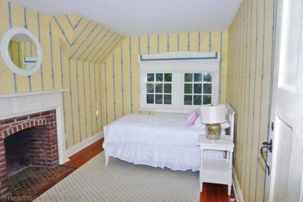bedroom with fireplace home staging