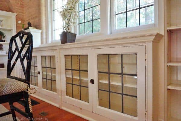 home staging windows and built in book cases