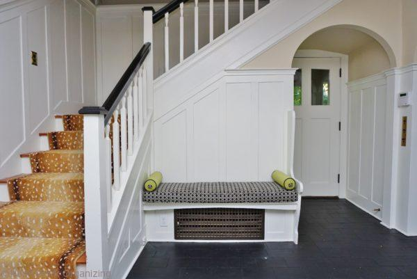 bench seat in staged home