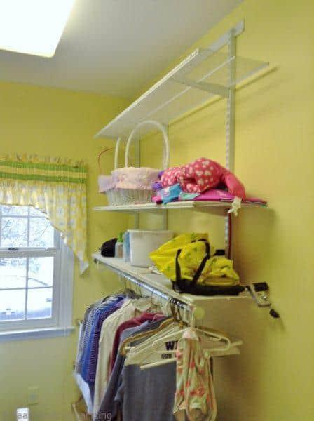 laundry room shelves, before