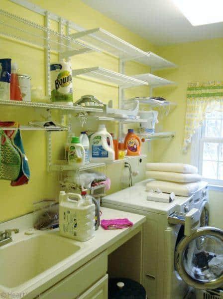 laundry room shelves over washer before