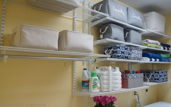 storage shelves for a pretty laundry room