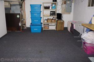 basement storage room organized