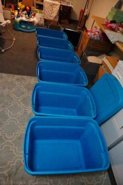 storage bins for basement project.