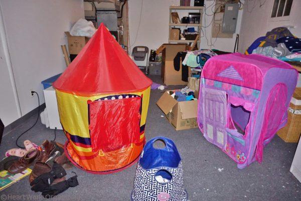 disorganized basement clutter