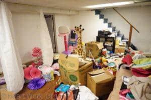 basement playroom needs organizing