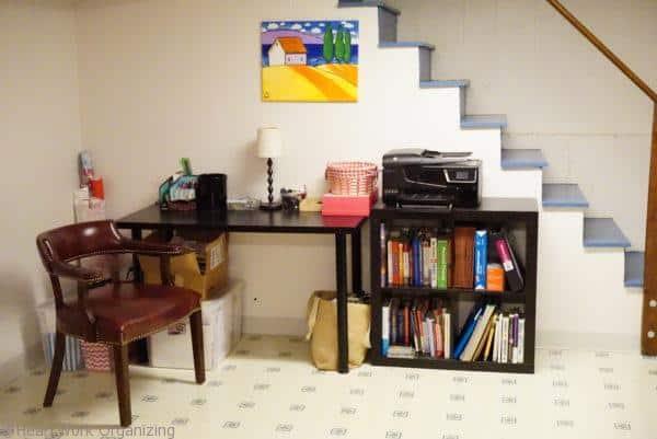 basement playroom with desk