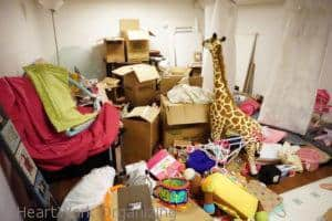 basment playroom clutter