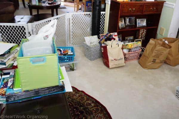 empty organizing bins
