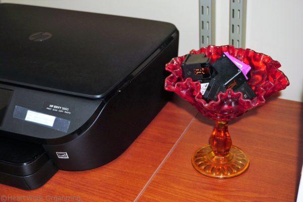 Home Office with New England Style (11) printer ink and storage