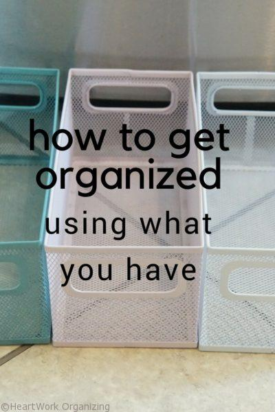 how to get organized using what you have heartwork organizing tips for organizing your home. Black Bedroom Furniture Sets. Home Design Ideas