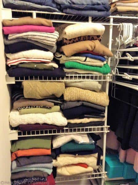 Use Rectangular Utility Tote Bags to Organize Your Closet to make stacks
