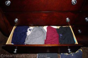 fold then file shirts to organize your home- before
