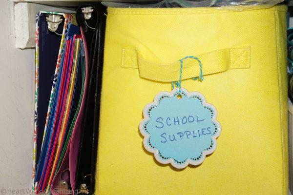 school supplies labeled in organize the linen closet