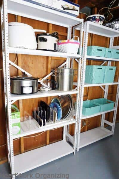 Basement Laundry Room Organizing Before and After-organized shelves