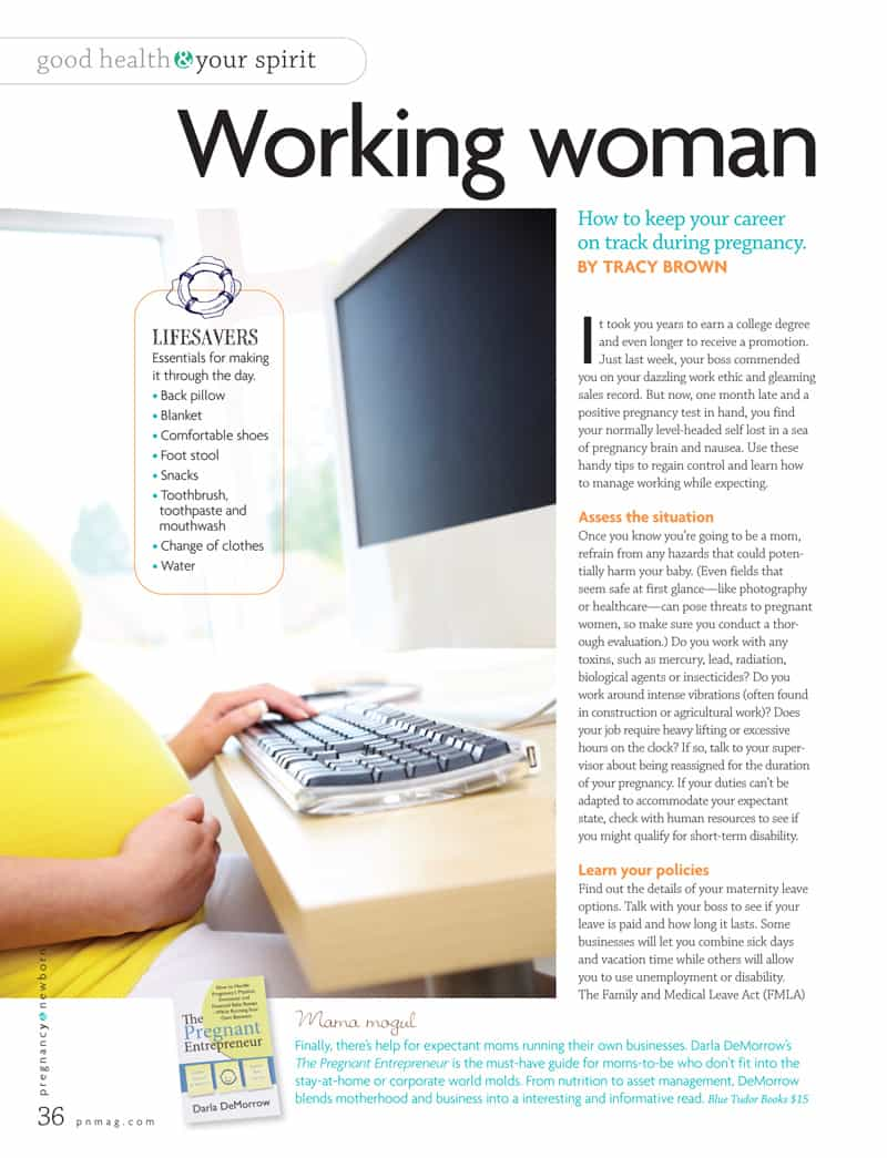 Pregnant Entrepreneur in national maternity magazine