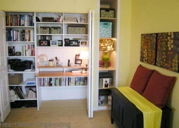 home office desk built into a closet