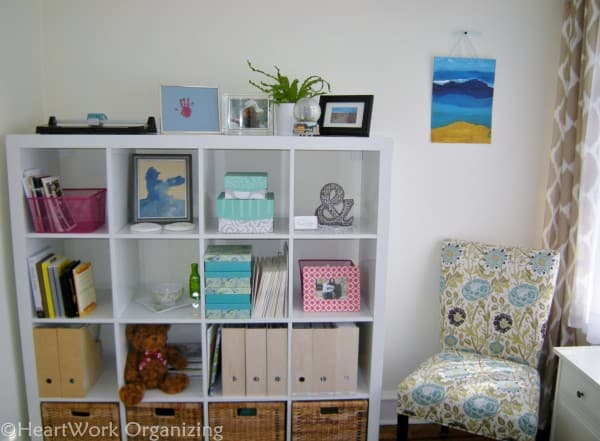 Home office makeover after shelving