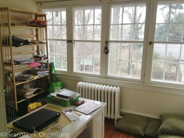 home office makeover shelving before