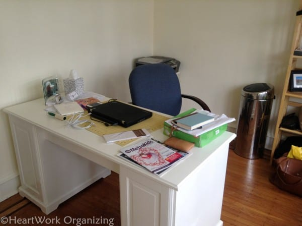 home office desk area before