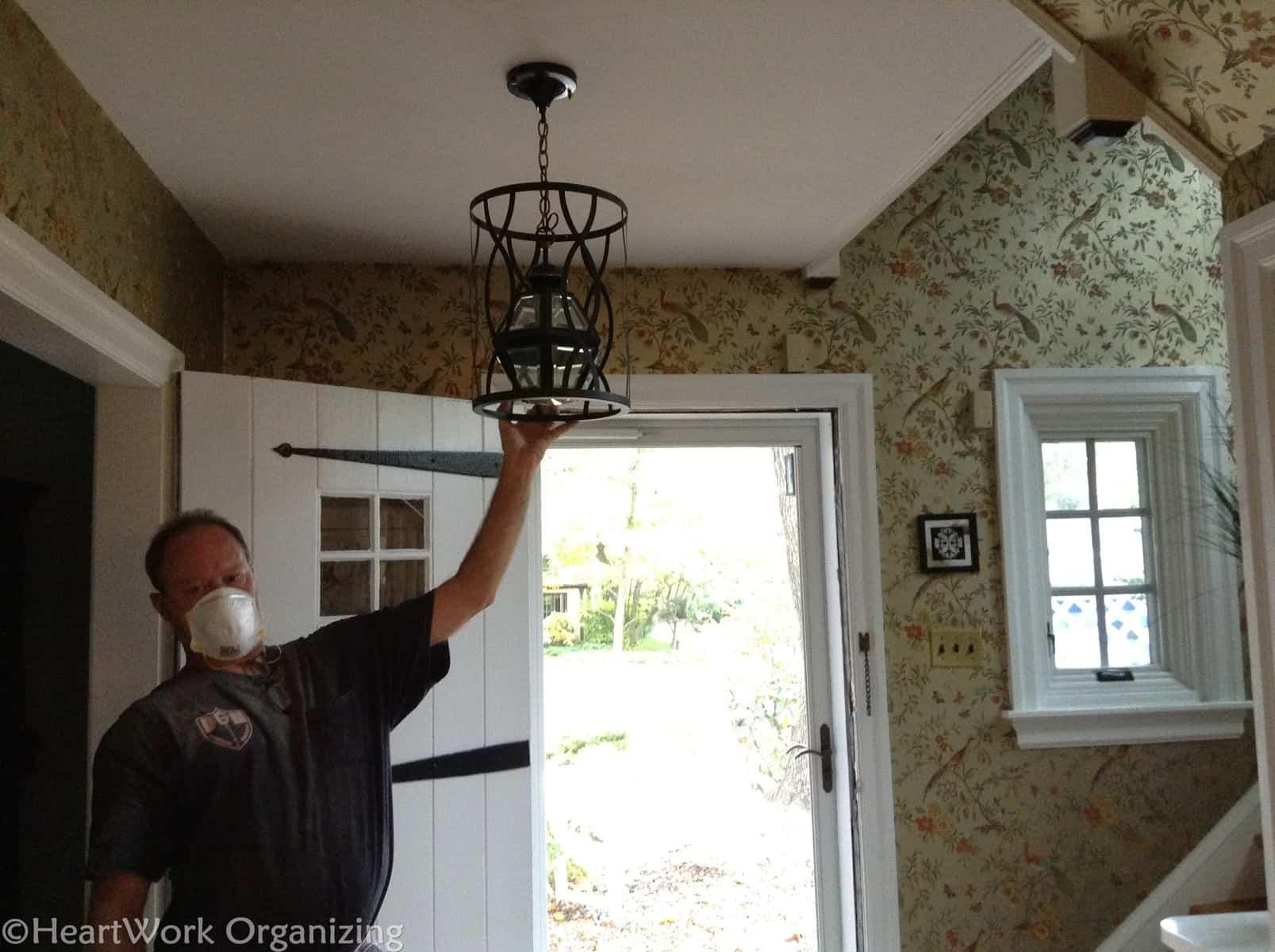 Lighting updates in old house foyer & Lighting Updates: Foyer Part 2   HeartWork Organizing Tips for ...