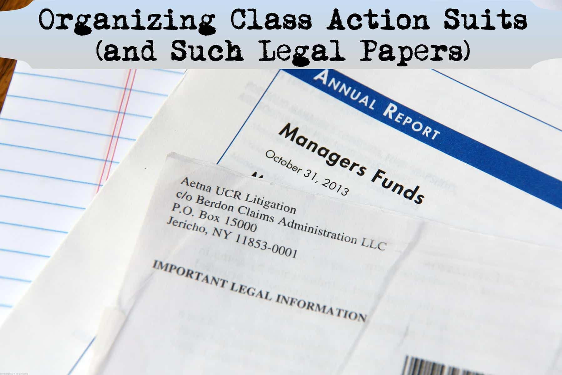 organizing class action suits and such legal papers