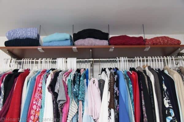 Organizing sweaters in the closet