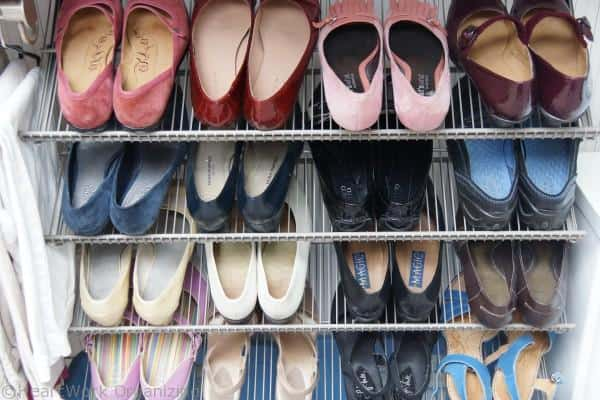 organizing shoes in the closet