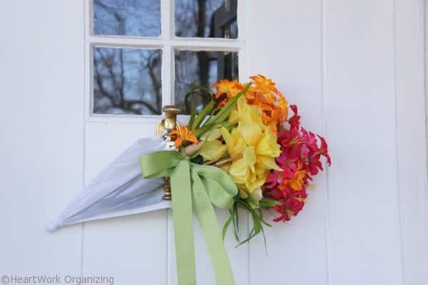 front door umbrella wreath