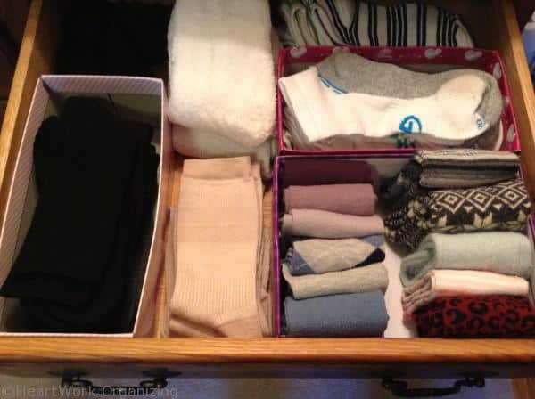 how to organize sock drawer with boxes