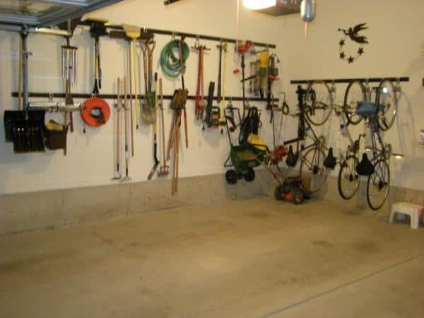 Organized garage with Rubbermaid