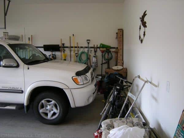 getting things up off the floor in an organized garage