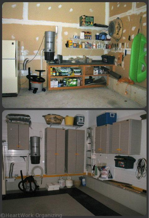 organized garage with slatwall system