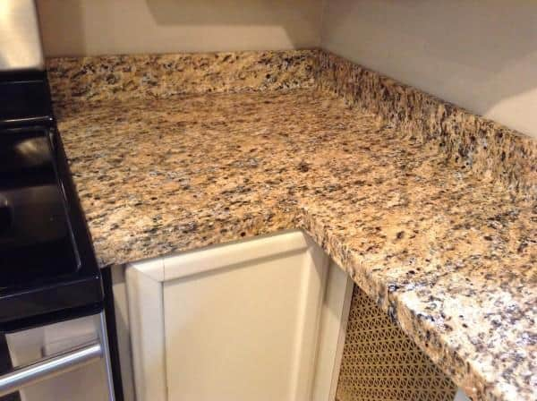 faux granite film kitchen corner after