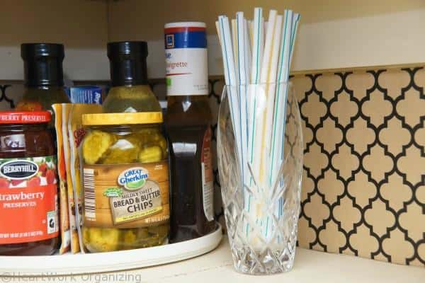 storing straws in the pantry