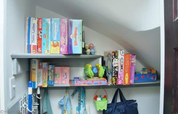 organized toy shelves after