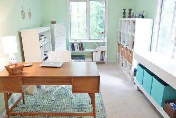 home office in blue and green