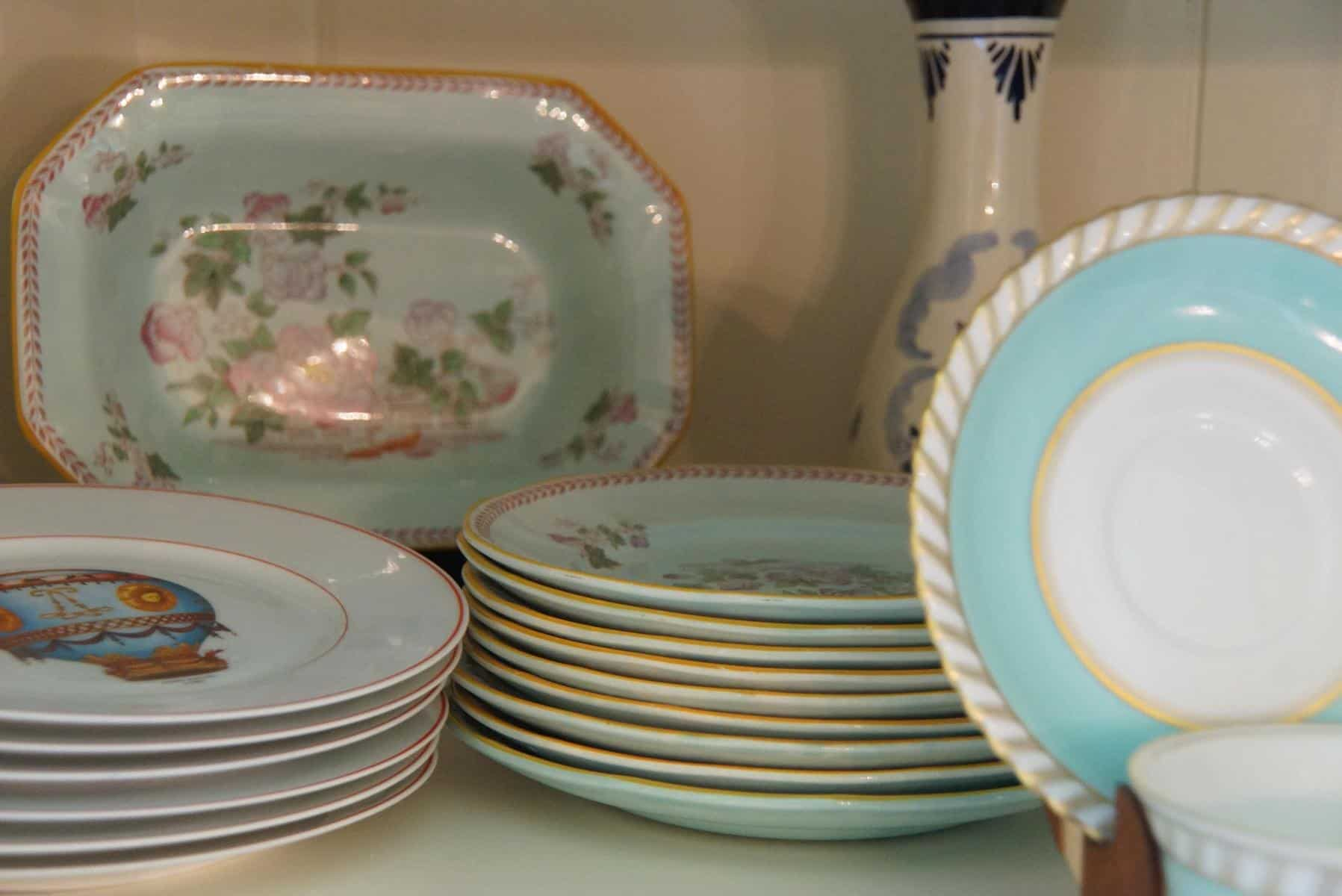 Plate Stands In A China Cabinet