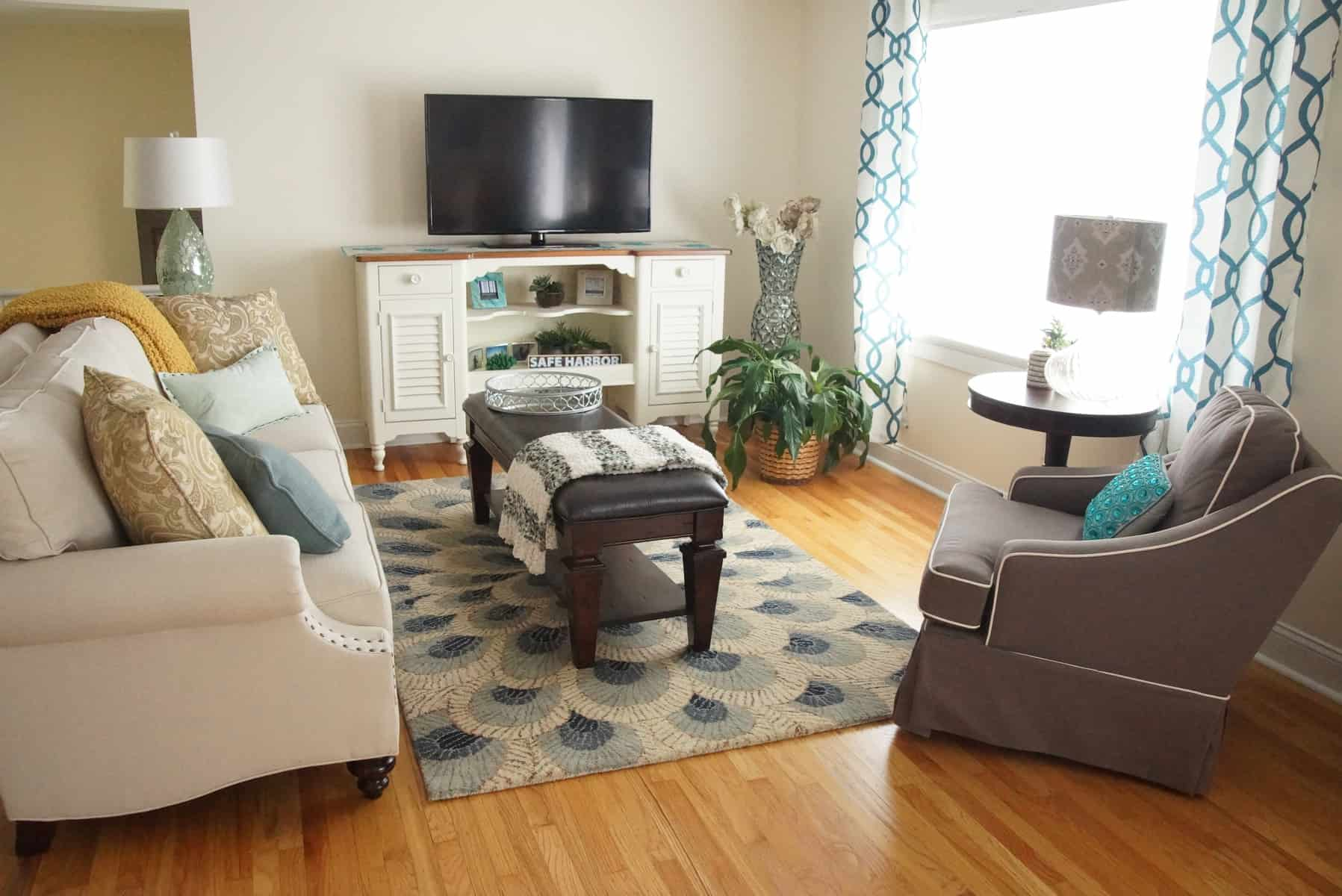 rug in living room makeover Glam Coastal Living Room Makeover  HeartWork Organizing Tips for