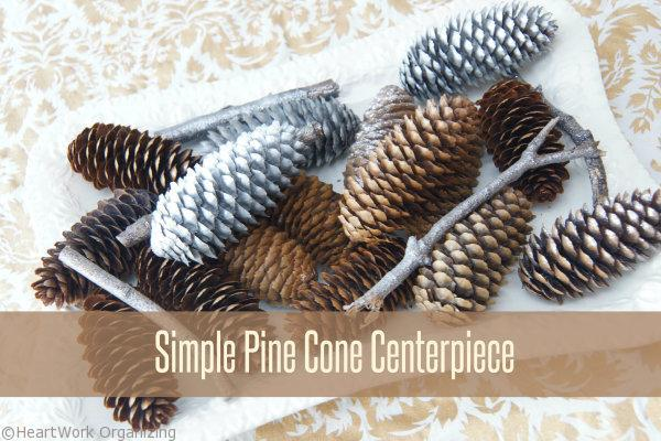 how to make a metallic pine cone centerpiece