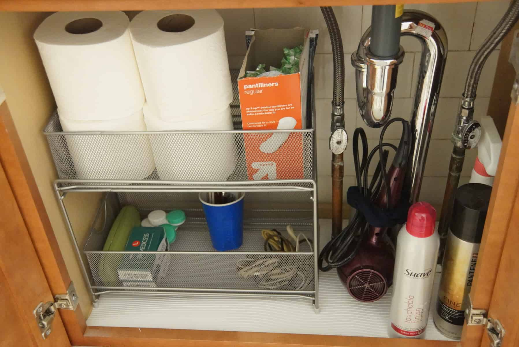 100 Kitchen Under Sink Storage Tension Rod For Hanging Spray Cleaners